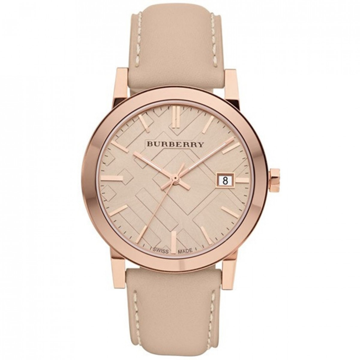 Unisex Burberry Tan Dial Leather Strap Watch BU9014