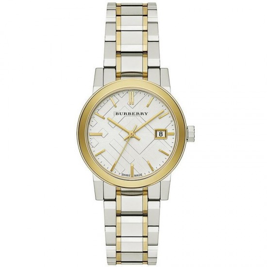 Ladies Burberry The City Engraved Check Watch BU9115