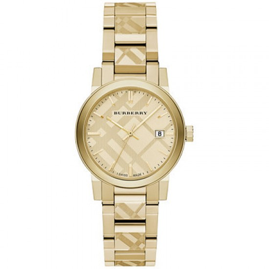 Ladies Burberry The City Engraved Check Watch BU9145