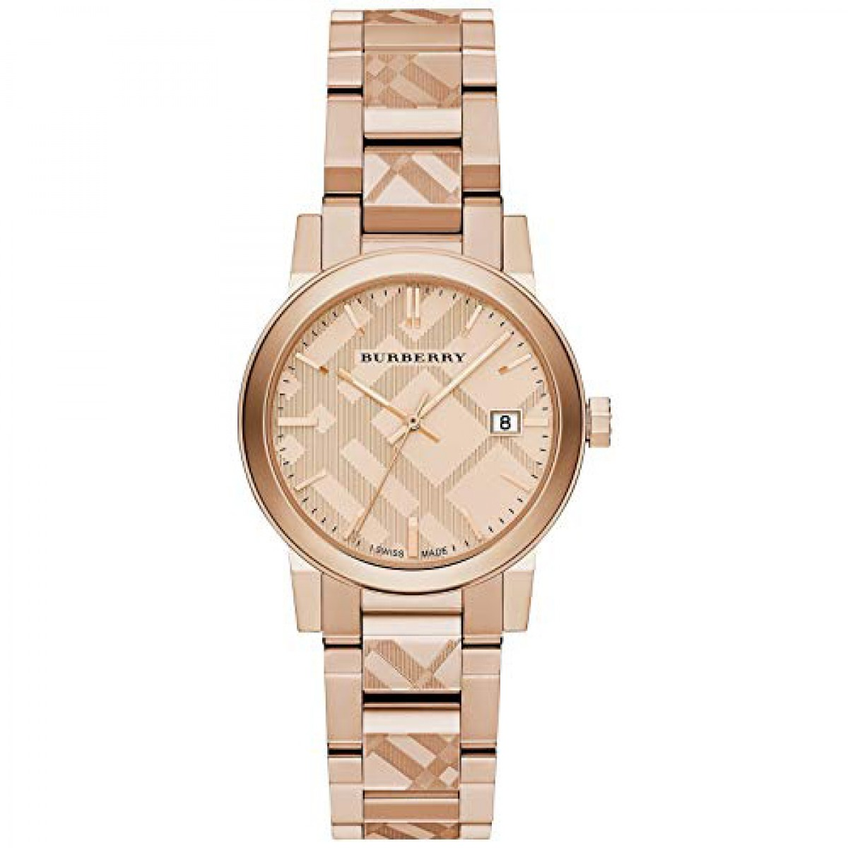 Ladies Burberry The City Engraved Check Watch BU9146