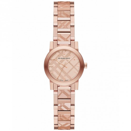Ladies Burberry The City Engraved Check Watch BU9235