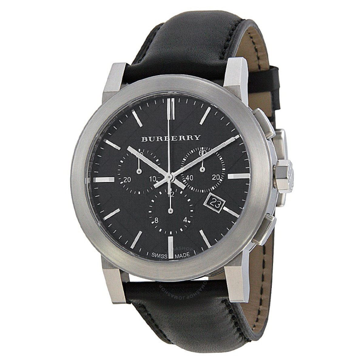 Mens Burberry Leather Chronograph Watch BU9356