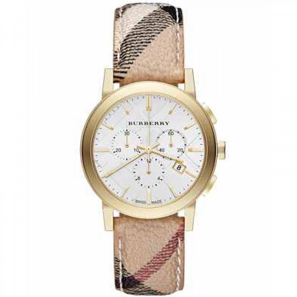 Unisex Burberry The City Chronograph White Dial Watch BU9752