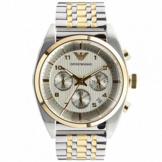 Emporio Armani Mens Gold & Silver Chronograph Watch AR0396