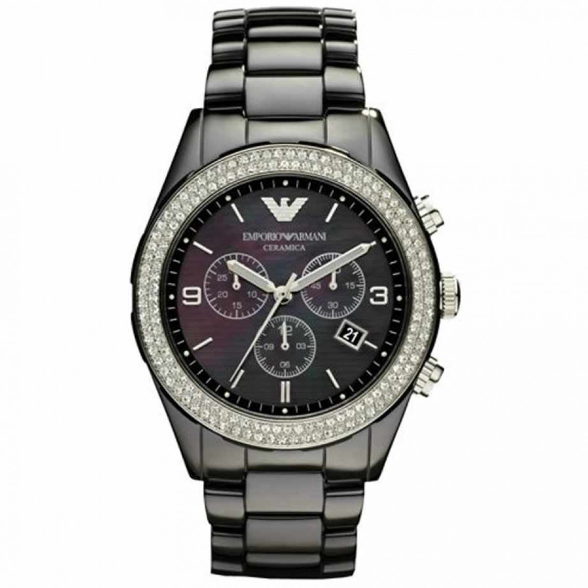 Mens Emporio Armani Ceramic Black Watch AR1455