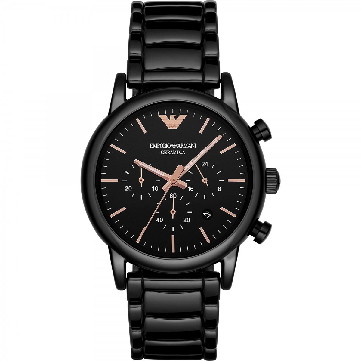 Mens Emporio Armani Rose Gold & Black Ceramic Chronograph Watch AR1509