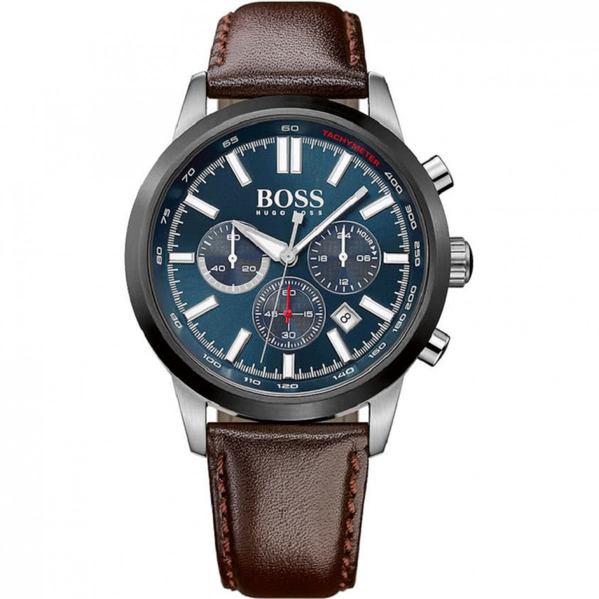 Mens Hugo Boss Racing Brown Leather Chronograph Watch 1513187
