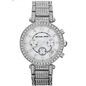 Ladies Michael Kors Parker Silver Stainless Steel Glitz Watch MK5572