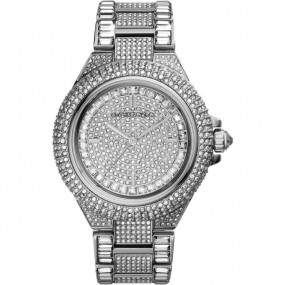 Ladies Michael Kors Camille Silver Glitz Stainless Steel Watch MK5869