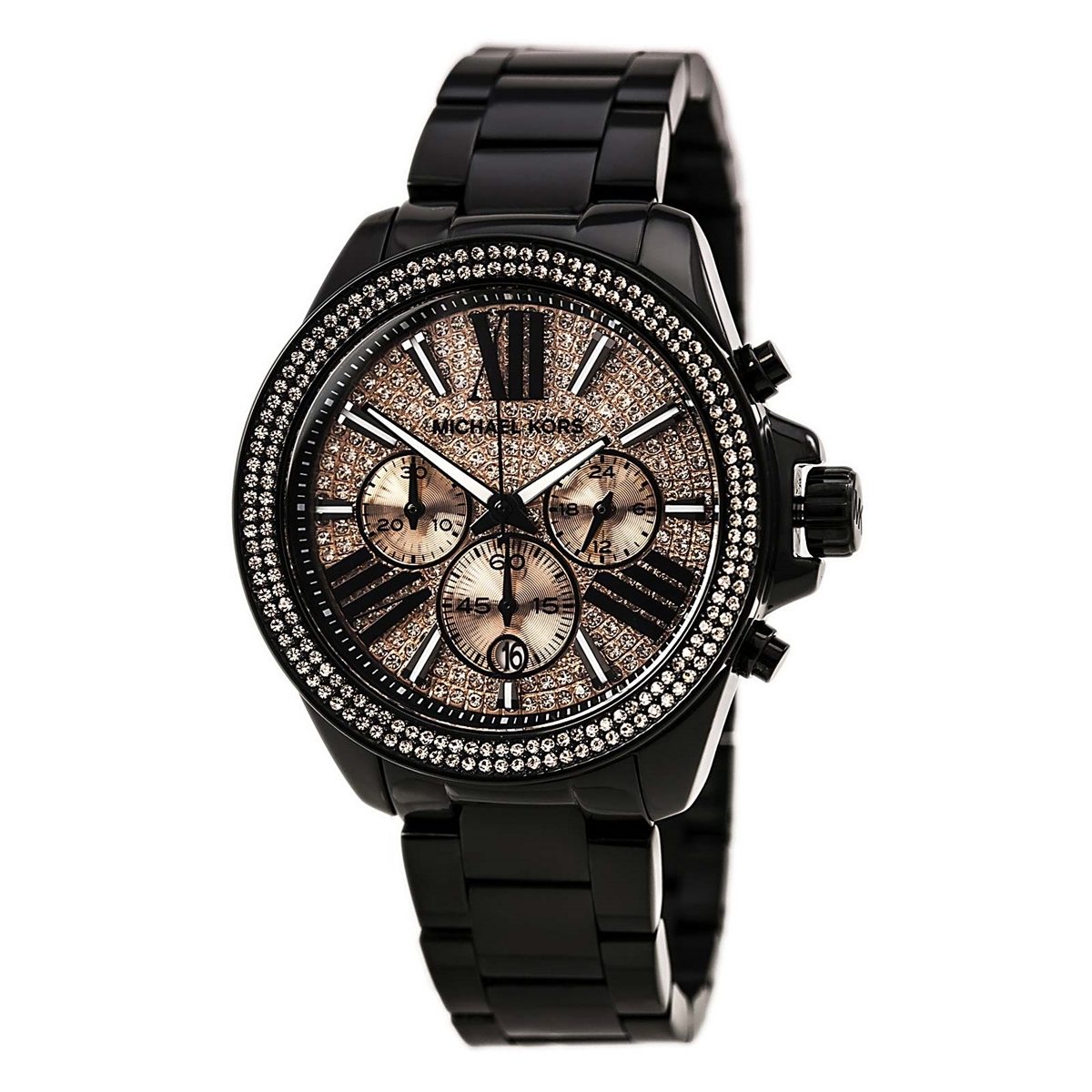 Ladies Michael Kors Rose Gold & Black Chronograph Ladies Watch MK5879