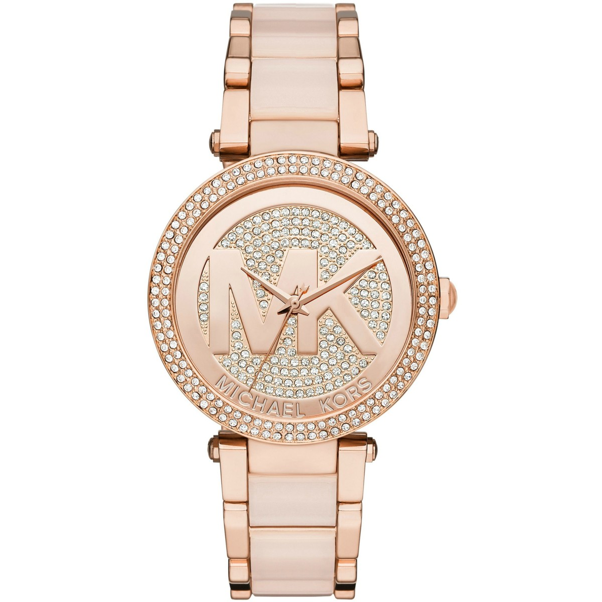 Ladies Michael Kors Parker Crystal Pave Logo Dial Watch