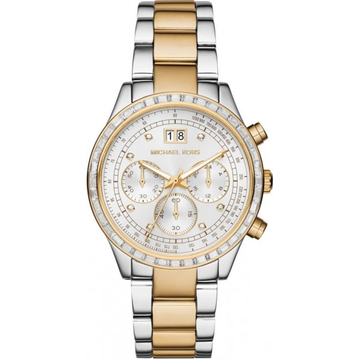 Ladies Michael Kors Brinkley Chronograpgh Silver Watch MK6188
