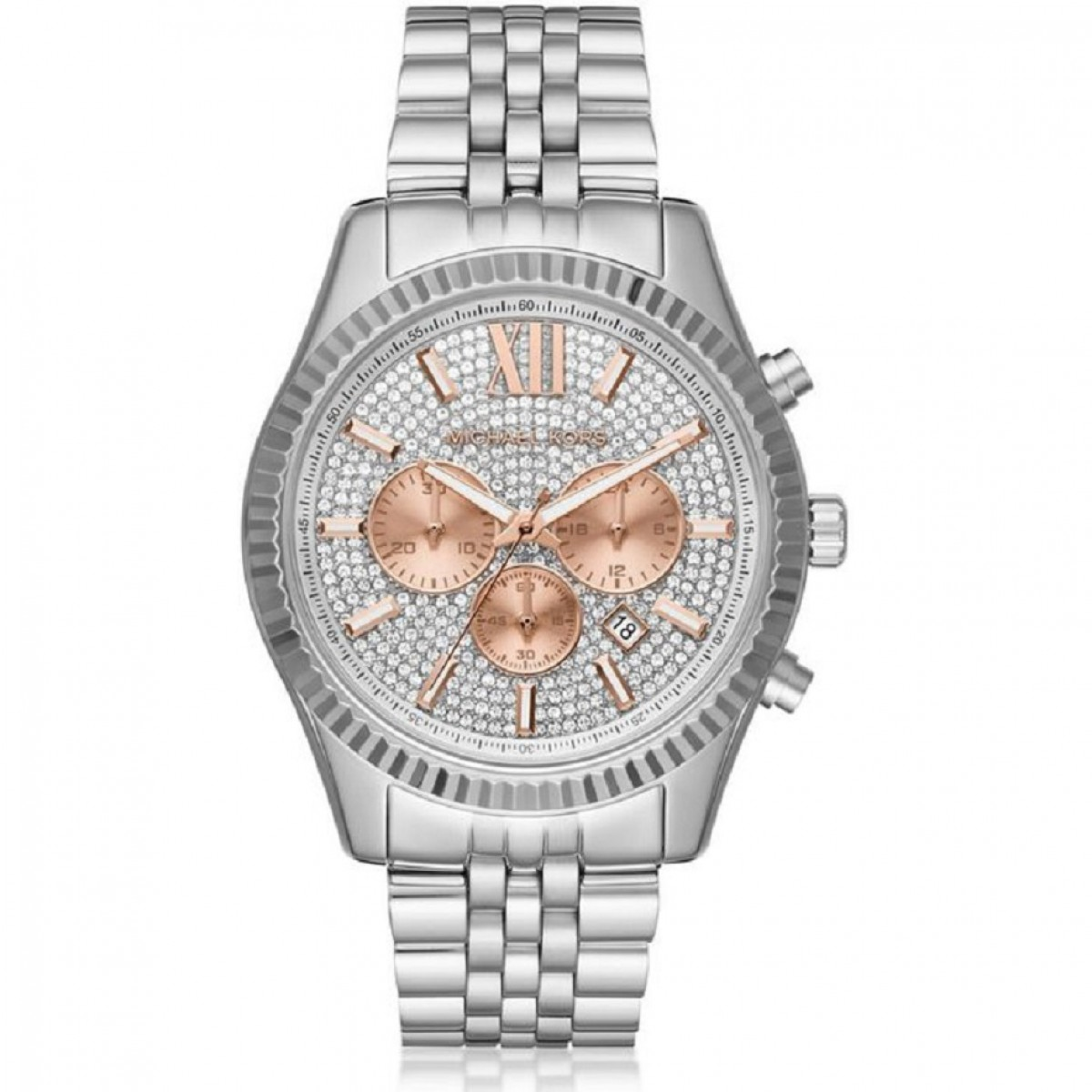 Ladies Michael Kors Lexington Crystal Pave Dial Chronograph Watch MK8515