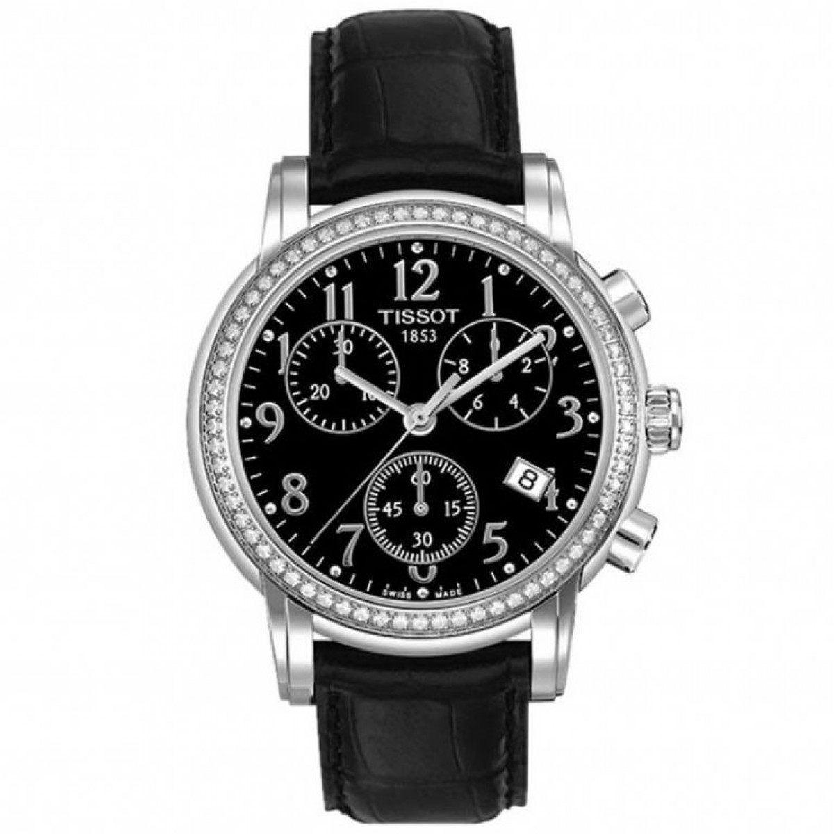 Ladies Tissot Dressport Chronograph Black Leather Watch T0502171605201