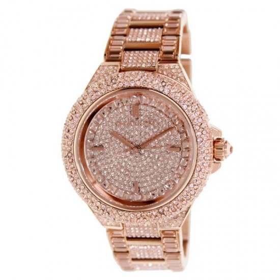 Ladies Michael Kors Camille Rose Gold Glitz Bracelet Watch MK5862